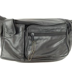 Black Leather Fanny Bum Waist Bag